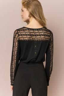 Women's Hem & Thread Lace Panel Button Back Blouse