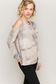 Women's Hem & Thread Distressed Cold Shoulder Sweatshirt