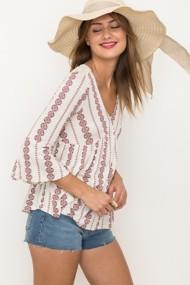 Women's Hem & Thread Mixed Media Lace Back Peasant 3/4 Sleeve Shirt