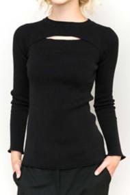Women's Hem & Thread Open Slight Mock Neck Long Sleeve Shirt