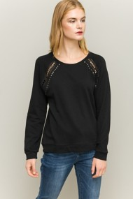 Women's Hem & Thread Studded Lace Sweatshirt