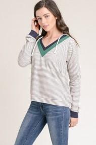 Women's Hem & Thread Colorblock Striped Sweatshirt