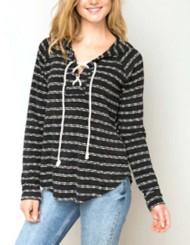 Women's Hem & Thread Slub Striped Lace Sweatshirt