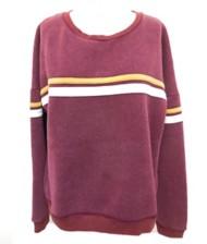 Women's Hem & Thread Striped Fleece Sweatshirt