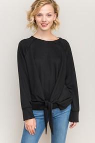 Women's Hem & Thread Front Knot Loose Long Sleeve Shirt
