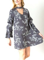 Women's Hem & Thread Ruffle Sleeve Printed Dress