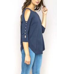 Women's Hem & Thread Cold Shoulder Circle Hem Sweater