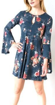 Women's Hem & Thread Floral Bell Sleeve Dress