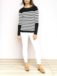 Women's Hem & Thread Striped Boat Neck Sweater