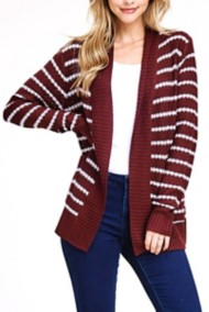 Women's Staccato Textured Striped Cardigan