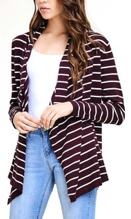 Women's Staccato Waterfall Striped Cardigan