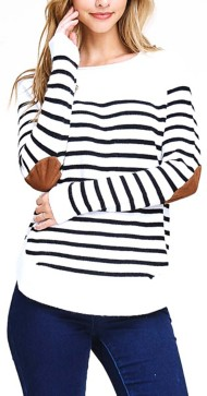 Women's Staccato Striped Elbow Patch Sweater