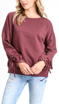 Women's Doe & Rae Pull Over Sweater With Ballon Sleeves & Show Tie Detail