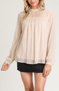 Women's Doe & Rae Wrinkle Chiffon Lace Contrast Mock Neck Shirt