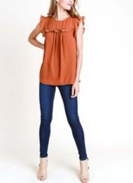 Women's Doe & Rae Ruffle Yoke Cap Short Sleeve Shirt