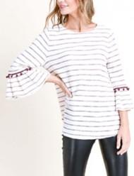 Women's Doe & Rae Ruffle Pom Pom 3/4 Sleeve Shirt