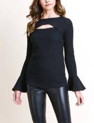 Women's Doe & Rae Cut-Out Flared Long Sleeve Shirt