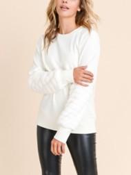 Women's Doe & Rae Popcorn Sleeve Sweater