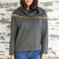 Women's Mystree Fringe Cowl Neck Sweater