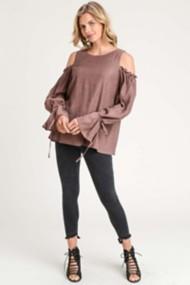 Women's Doe & Rae Ruffle Cold Shoulder Long Sleeve Shirt