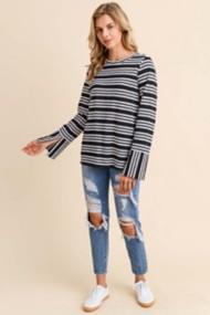 Women's Doe & Rae Striped Button Back Long Sleeve Shirt