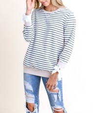 Women's Doe & Rae Thin Striped Crew Sweatshirt