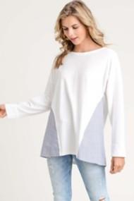 Women's Doe & Rae Striped Sided Long Sleeve Shirt