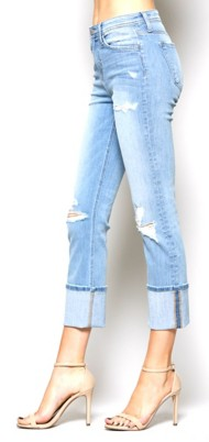 Women's Flying Monkey Distressed Cuff Straight Leg Jean