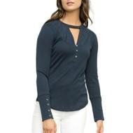 Women's Hem & Thread Lace Choker Neckline Long Sleeve Shirt