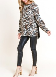 Women's Doe & Rae Leopard Printed Hi-Lo Sweater
