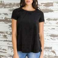 Women's Mystree Burnout Velvet Short Sleeve Shirt