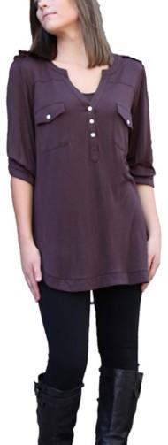 Women's Angie Split V-Neck Button Shirt