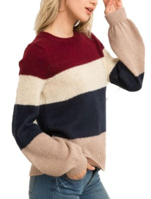 Women's Hem And Thread Color BlockPuff Sleeve Pullover
