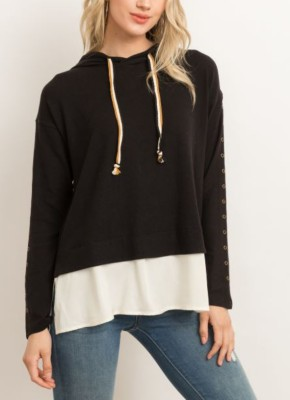 Women's Hem And Thread Brushed Hacci Two-Fer Hoodie