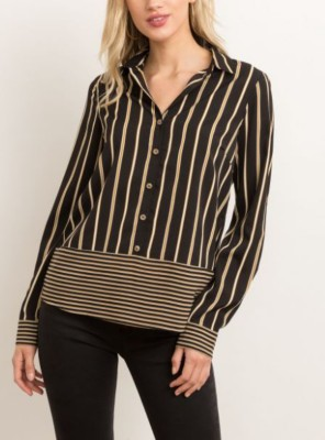 Women's Hem And Thread Mixed Stripe Button Down Blouse