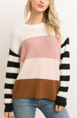Women's Hem And Thread Colorblock Sweater