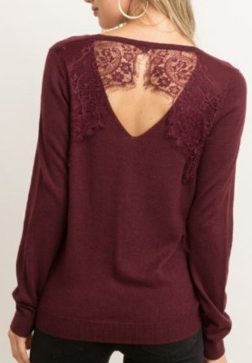 Women's Hem And Thread Lace Back Sweater