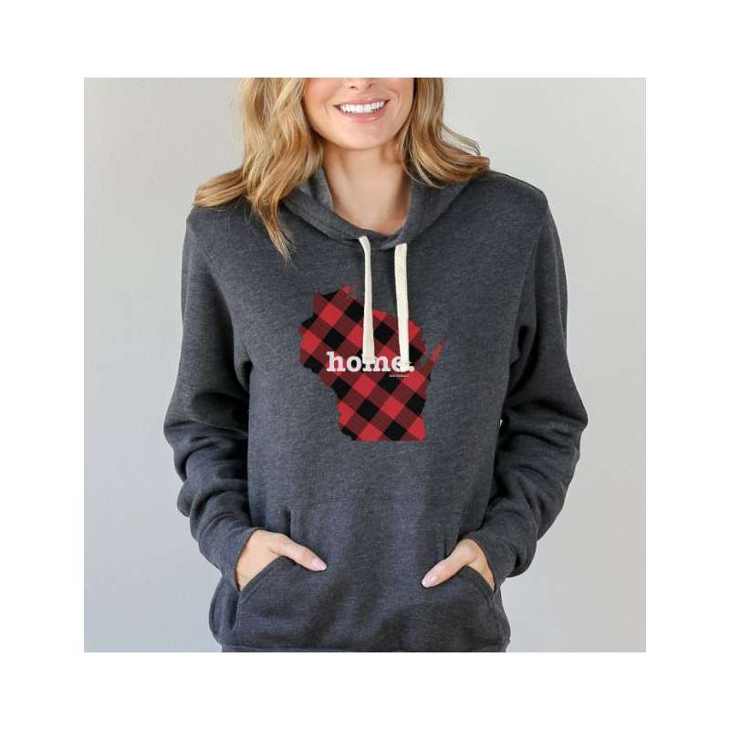 Women's Home T Wisconsin Plaid Hoodie Sweatshirt