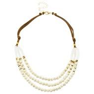 Women's Pannee Triple Bead White Necklace