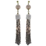 Women's Pannee Beaded Tassel Ivory/Grey Earrings