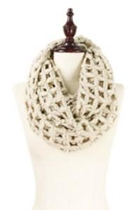 Women's Elegant Essence Solid Net Infinity Scarf