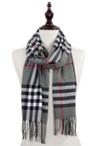 Women's Elegant Essence Plaid Oblong Fringe Scarf