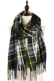 Women's Elegant Essence Plaid Tassel Brushed Scarf