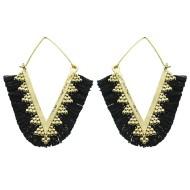 Women's Pannee Tassel Black Earrings