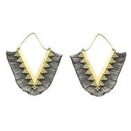 Women's Pannee Tassel Dark Grey Earrings