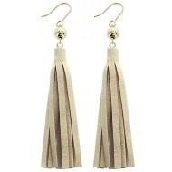 Women's Pannee Hook Leather Ivory Tassel Earrings