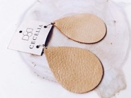 Women's Cecelia Large Gold Shimmer Leather Earrings