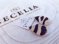 Women's Cecelia Small Zebra Cow Hide Leather Earrings
