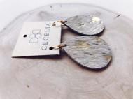 Women's Cecelia Small Gold Cow Hide Leather Earrings