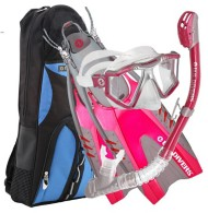 U.S. Divers Lux Purge Mask• Snorkel and Fin Combo - Pink